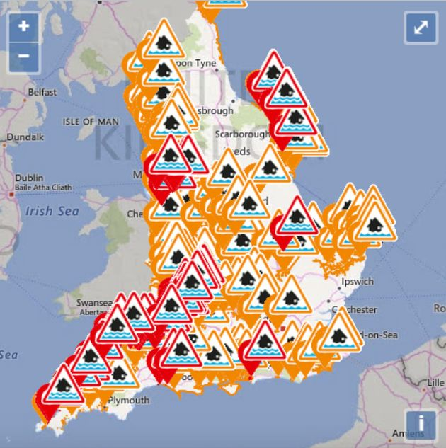 Environmental Agency                   Dozens of flood warnings are in place across England