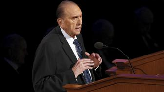 President Thomas S. Monson talks at the funeral of Boyd K. Packer, head of the The Church of Jesus Christ of Latter-Day Saints' highest governing body, at the Tabernacle in Salt Lake City, Utah, July 10, 2015. Packer died at his home in Salt Lake City on July 3 at the age of 90 and due to age-related causes, Elder Russell Ballard of the Church of Jesus Christ of Latter-day Saints said in a statement. REUTERS/Jim Urquhart