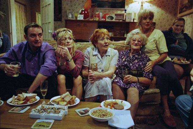 Doreen as Mary Carroll (centre) with the cast of 'The Royle
