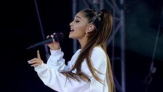 MANCHESTER, ENGLAND - JUNE 04:  Ariana Grande performs on stage during the One Love Manchester Benefit Concert at Old Trafford Cricket Ground on June 4, 2017 in Manchester, England.  (Photo by Kevin Mazur/One Love Manchester/Getty Images for One Love Manchester)