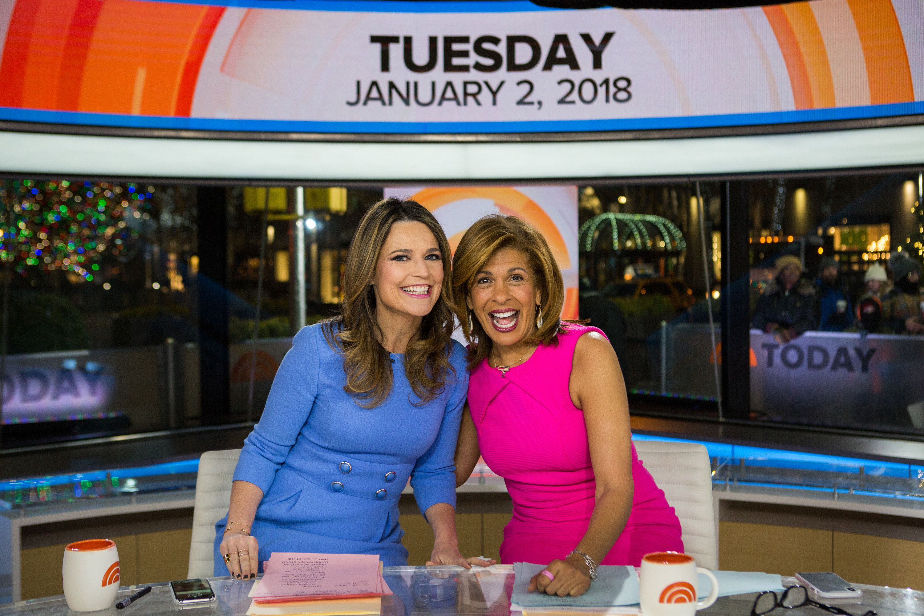 TODAY -- Pictured: Savannah Guthrie and Hoda Kotb on Tuesday, January 2, 2018 -- (Photo by: Nathan Congleton/NBC/NBCU Photo Bank via Getty Images)