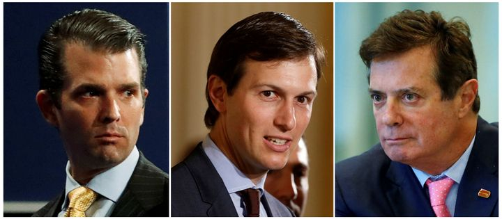 Donald Trump Jr., Jared Kushner and Paul Manafort. Manafort served as President Trump's campaign manager from June to August