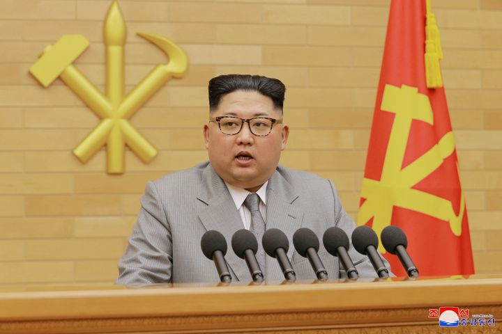 Kim Jong Un speaks during a New Year's Day speech in this photo released by North Korea's Korean Central News Agency (KCNA) i