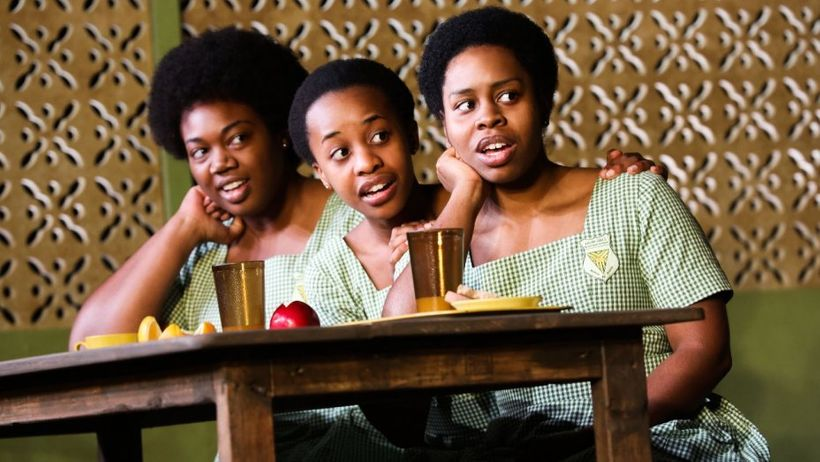 "The cast of ""School Girls; Or, the African Mean Girls Play."" Left to right: Abena Mensah-Bonsu, Mirirai Sithole, Paige Gilber"