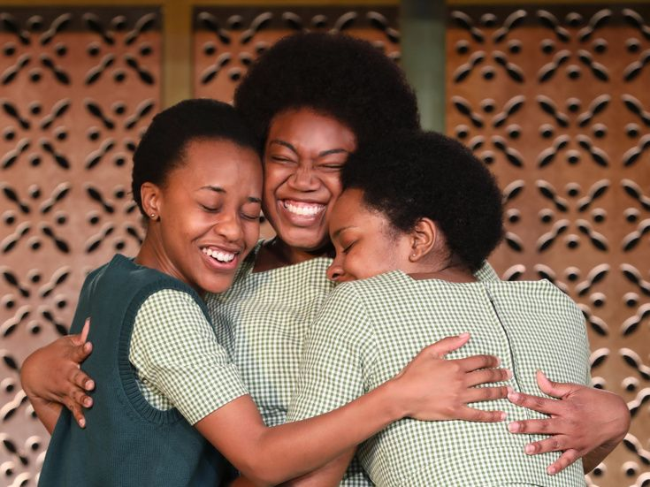 "The cast of ""School Girls; Or, the African Mean Girls Play."" Left to right: Mirirai Sithole, Abena Mensah-Bonsu, and Paige Gi"