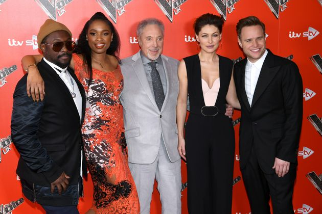 Olly with his 'Voice' co-stars will.i.am, Jennifer Hudson, Sir Tom Jones and host Emma