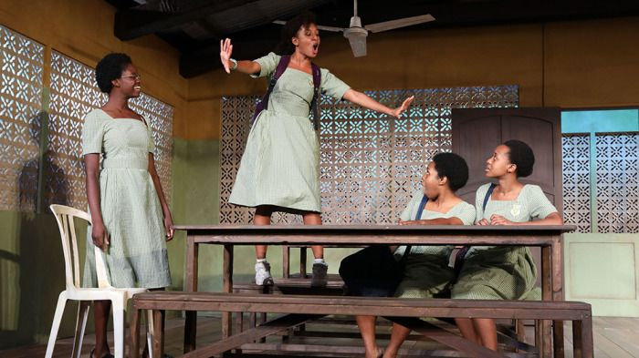 "The cast of ""School Girls; Or, the African Mean Girls Play."" Left to right: Nike Kadri, Nabiyah Be, Paige Gilbert, Mirirai Si"