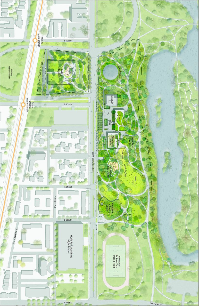 Proposed Obama Presidential Center in Jackson Park (R) and parking garage in the Midway Plaisance (top, L)