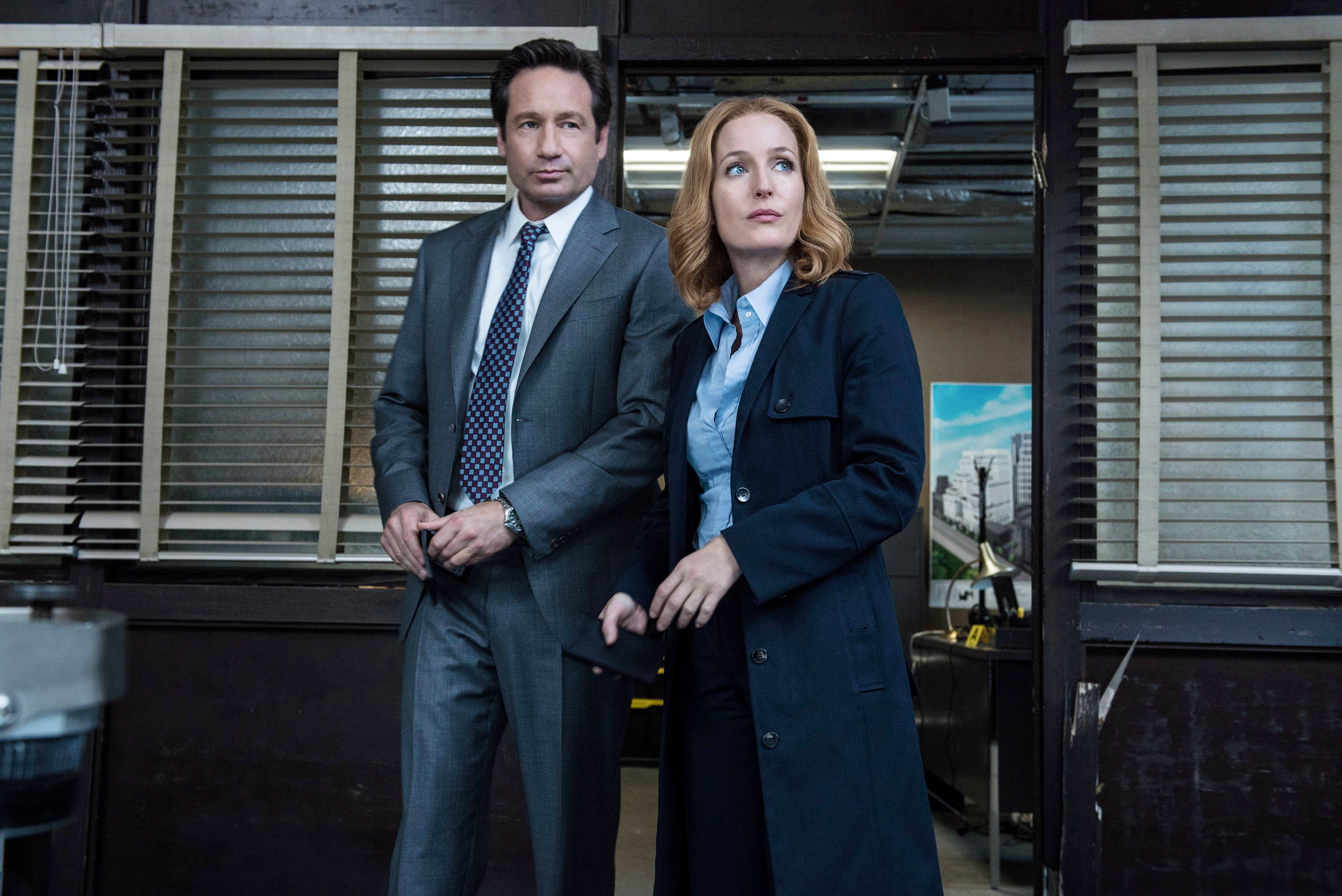 "THE X-FILES:   L-R:  David Duchovny and Gillian Anderson in the ""Home Again"" episode of THE X-FILES airing Monday, Feb. 8 (8:00-9:00 PM ET/PT) on FOX.  �2016 Fox Broadcasting Co.  Cr:  Ed Araquel/FOX"