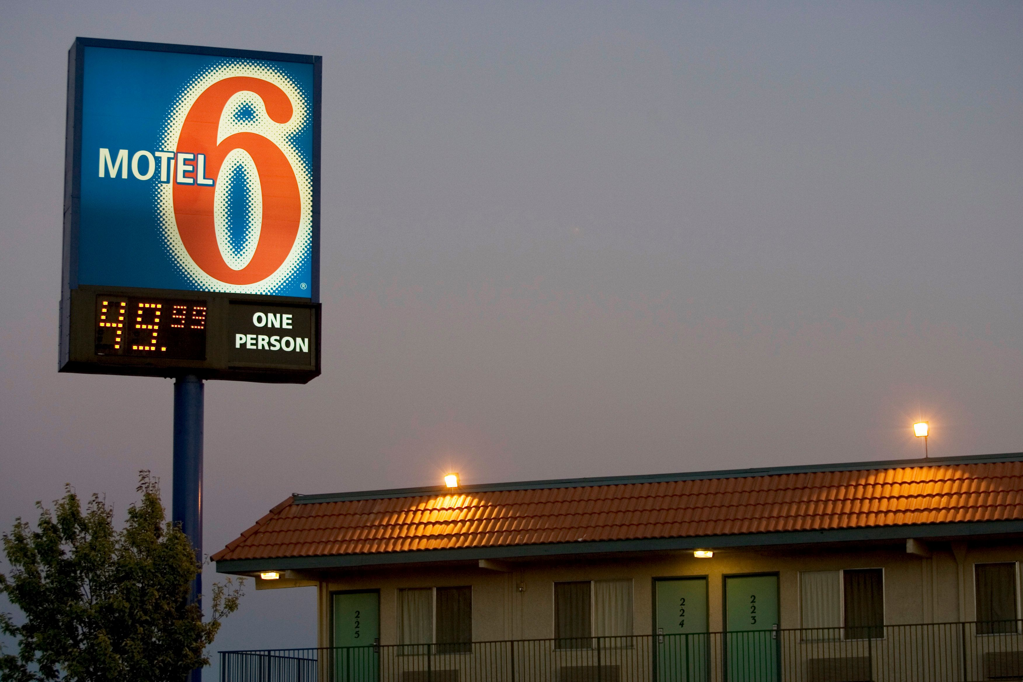 A Motel 6 showing nightly rate by Freeway 14 in California. Motel six is part of the Accor chain of hotels. (Photo by James Leynse/Corbis via Getty Images)