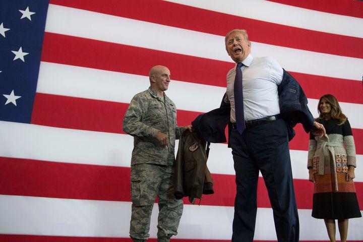 President Donald Trump at Yokota Air Base in Tokyo on Nov. 5.