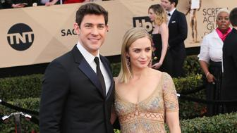 LOS ANGELES, CA - JANUARY 29:  Actors John Krasinski and Emily Blunt attend the 23rd Annual Screen Actors Guild Awards at The Shrine Expo Hall on January 29, 2017 in Los Angeles, California.  (Photo by David Livingston/Getty Images)