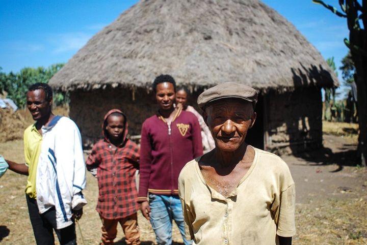 Bugune's husband, Araba, outside the family home in Toga, a small village in Ethiopia's Oromia region. Araba blam
