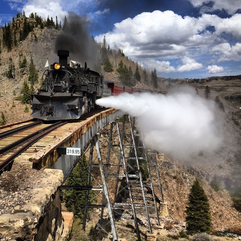 The Cumbres & Toltec crosses Cascade Creek Trestle