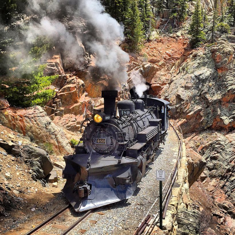 The Cumbres & Toltec coming out of Rock Tunnel