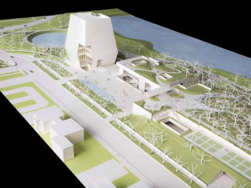 Model of the Obama Presidential Center showing the proposed 220-foot-tall tower.