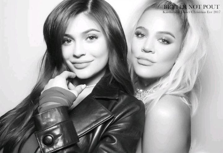 Kylie Jenner and Khloe Kardashian at the family's annual holiday party.