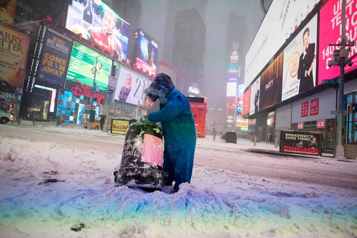 A pedestrian in New York City's snow-covered Times Square on Jan. 4, 2018.