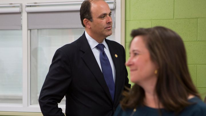 Republican David Yancey and Democrat Shelly Simonds shortly after the November election.