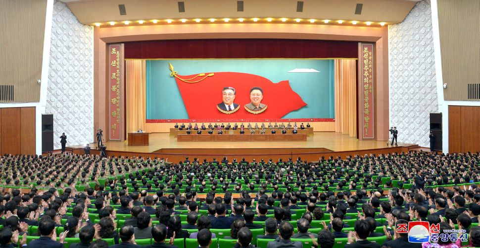 A national meeting at North Korea's People's Palace of Culture, released by North Korea's state news agency on Dec. 25, 2017.