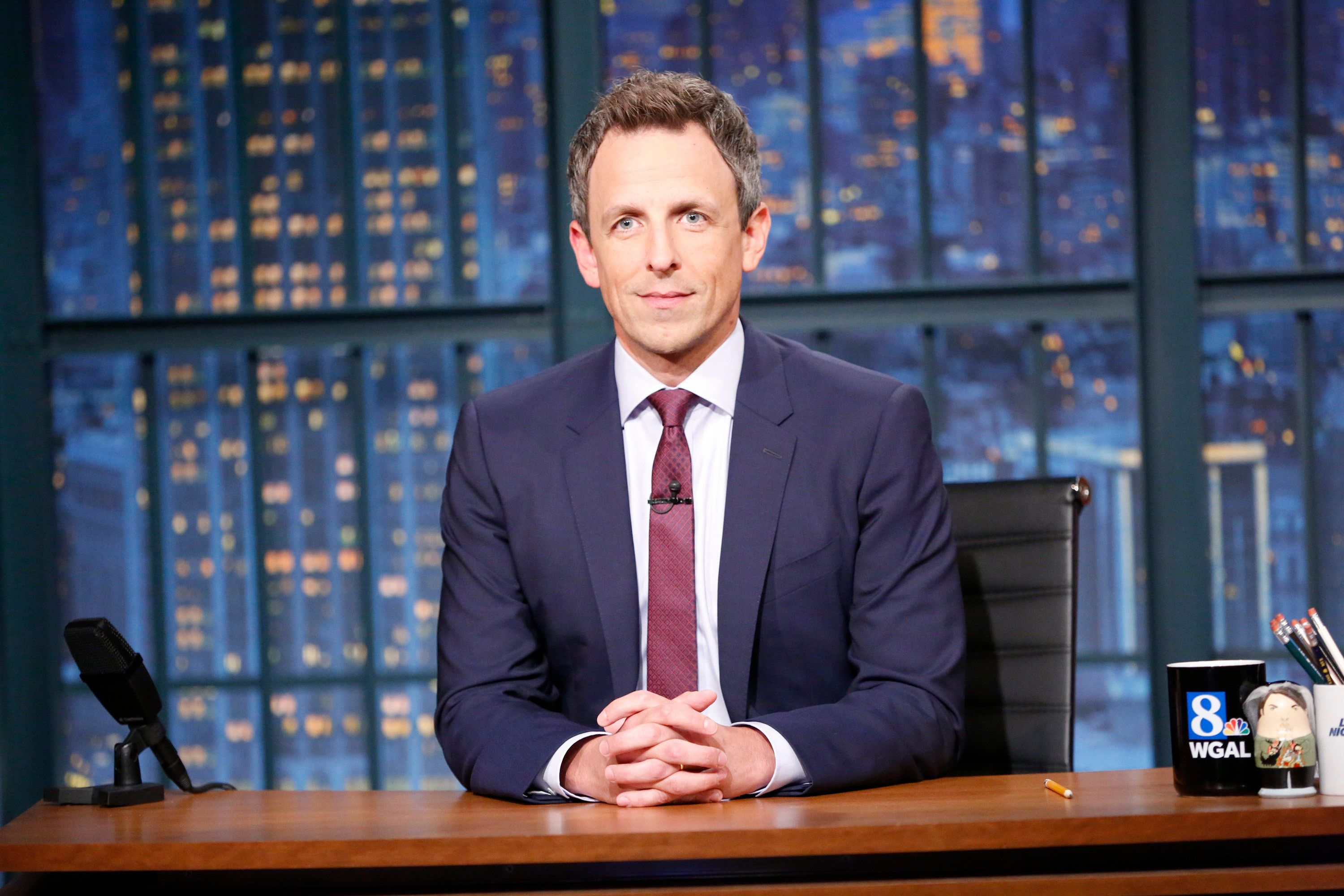 "Seth Meyers pictured on ""Late Night with Seth Meyers."""