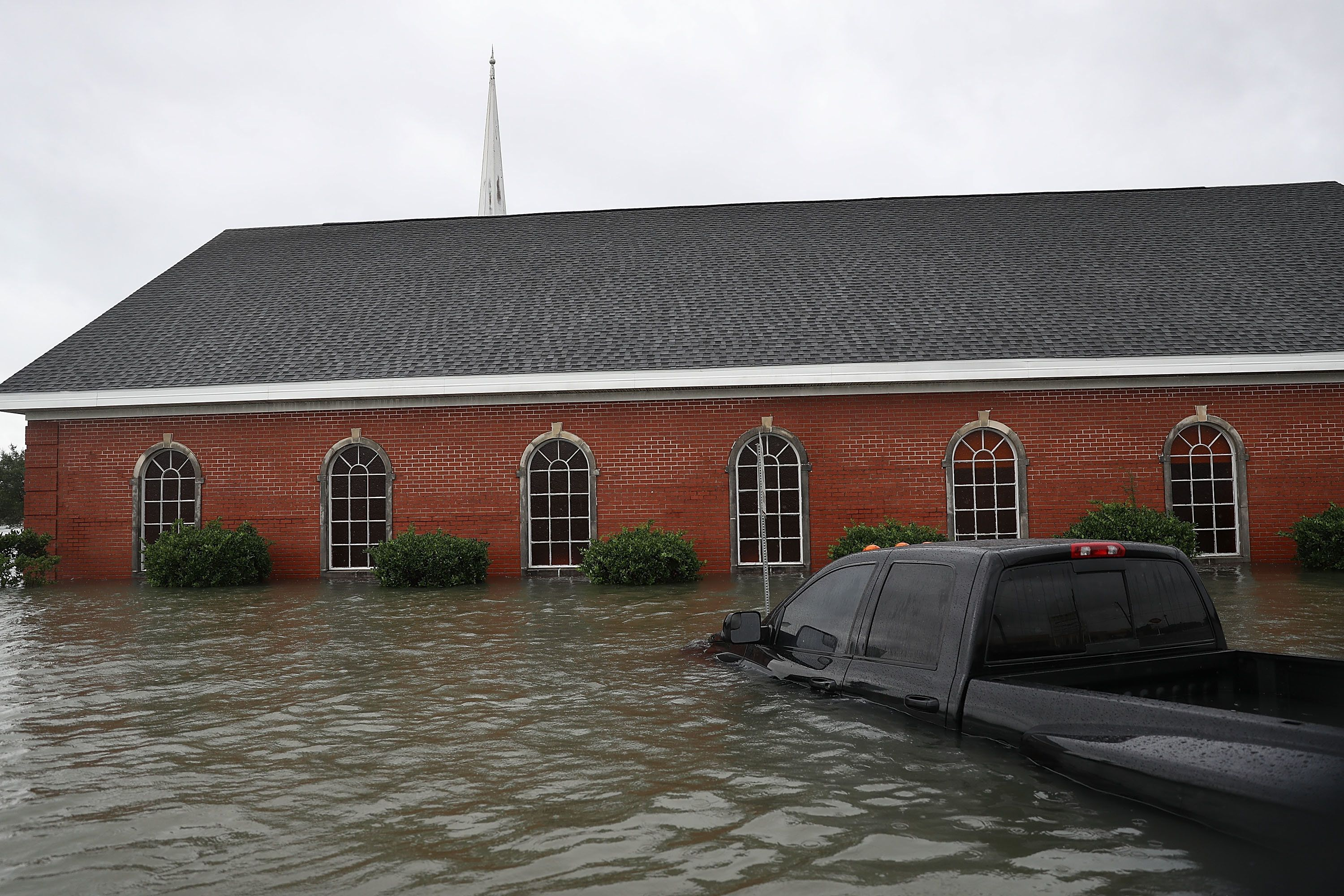 A Port Arthur, Texas, church is surrounded by water after Hurricane Harvey flooding inundated the area on Aug. 30, 2017.