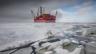 AT SEA, RUSSIA - MAY 8 :  The Prirazlomnaya offshore ice-resistant oil-producing platform is seen at Pechora Sea, Russia on May 8, 2016. Prirazlomnaya is the world's first operational Arctic rig that process oil drilling, production and storage, end product processing and loading. (Photo by Sergey Anisimov /Anadolu Agency/Getty Images)