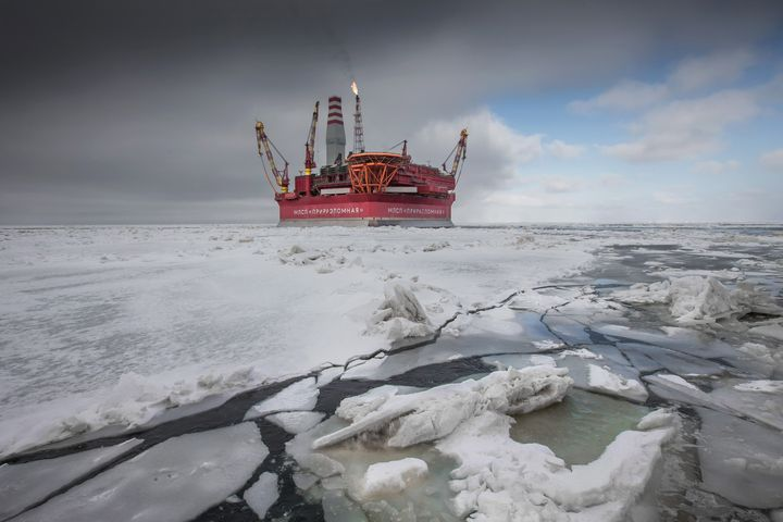 A Russian offshore oil rig in the Arctic Pechora Sea.