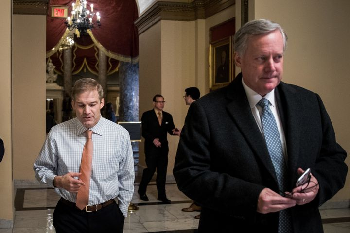 Rep. Jim Jordan (R-Ohio,), left, walks with Rep. Mark Meadows (R-N.C.) on Capitol Hill, Dec. 4, 2017.