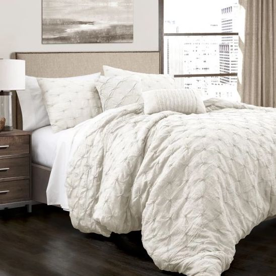 """Get it here from <a href=""""https://www.hayneedle.com/product/lushdecorravellopintuckcomfortergray5pcset.cfm"""" target=""""_blank"""">H"""