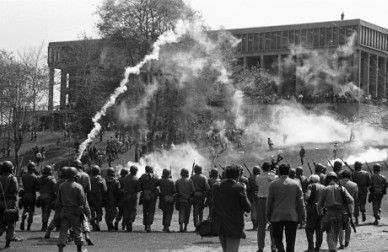 The Ohio National Guard fires tear gas to disperse students gathered on the Commons on May 4, 1970.