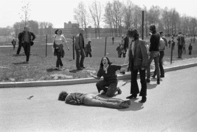 14-year-old Mary Ann Vecchio kneels, screaming over 20-year-old Jeffrey Miller, shot dead by the Ohio National Guard on May 4