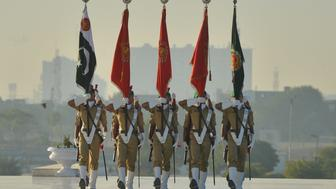 Pakistani Naval cadets parade at the mausoleum of the 'father of the nation' Quaid-e-Azam Muhammad Ali Jinnah during events to mark his birth anniversary in Karachi December 25, 2017. / AFP PHOTO / RIZWAN TABASSUM        (Photo credit should read RIZWAN TABASSUM/AFP/Getty Images)