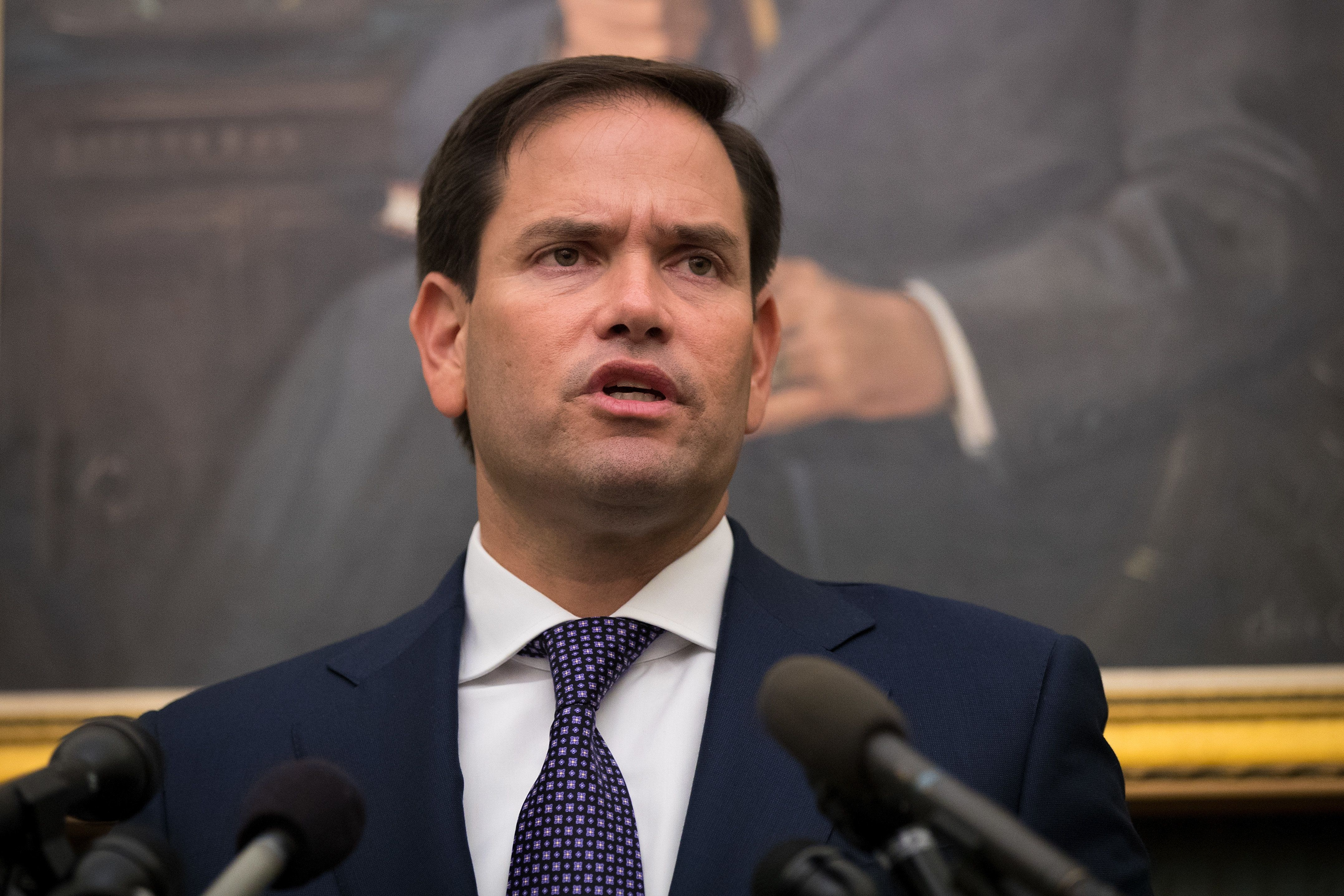 WASHINGTON, DC - SEPTEMBER 26: Sen. Marco Rubio (R-FL) takes questions from reporters about the relief effort in Puerto Rico following Hurricane Maria, September 26, 2017 at the U.S. Capitol in Washington, DC. Over 3 million people are still without power on the island following the damage from Hurricane Maria. (Photo by Drew Angerer/Getty Images)