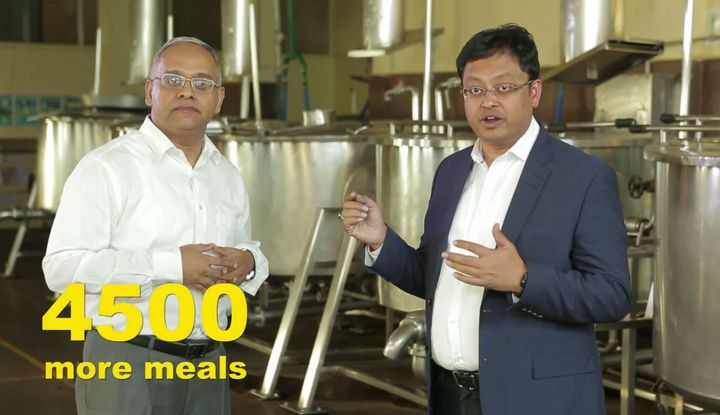 """<p>""""For Akshaya Patra, every paisa saved means more meals for schoolchildren,"""" says Sanjay Podder, Managing Director, Accenture Labs Bangalore (right), with Shridhar Venkat, CEO, The Akshaya Patra Foundation (left).</p>"""