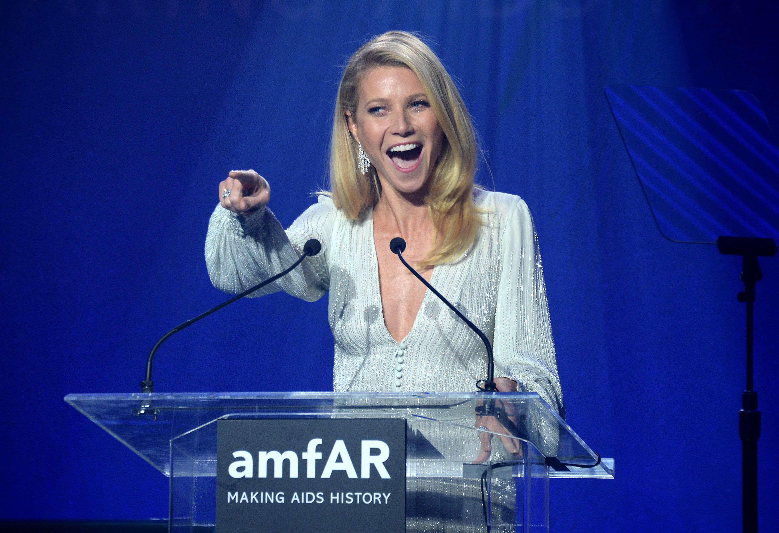 HOLLYWOOD, CA - OCTOBER 29: Host Gwyneth Paltrow speaks on stage at the amfAR Inspiration Gala at Milk Studios on October 29, 2015 in Hollywood, California.  (Photo by Kevin Tachman/Getty Images for amfAR)