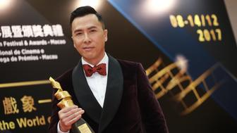 MACAO, CHINA - DECEMBER 14:  Actor Donnie Yen, winner of International Star of The Year, poses during the award ceremony for the 2nd International Film Festival & Awards Macao (IFFAM) on December 14, 2017 in Macao, China.  (Photo by VCG/VCG via Getty Images)