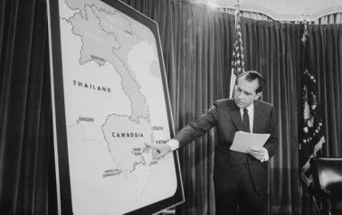 President Richard Nixon points to Cambodia during a Vietnam War Press Conference on April 30, 1970.