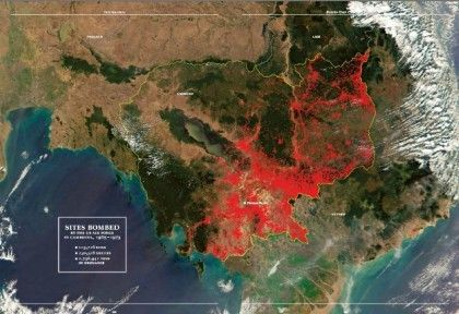 Sites bombed by the US in Cambodia from 1965-1973: 113, 716 sites; 230,716 sorties; 2,756,941 tons (5.5 billion pounds) of or