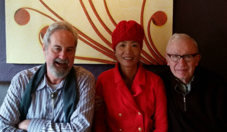 From left to right: Dan Dickason, Chanrithy Him, Dr. William H. Sack meet on December 21, 2017 for lunch to reminisce. In 198
