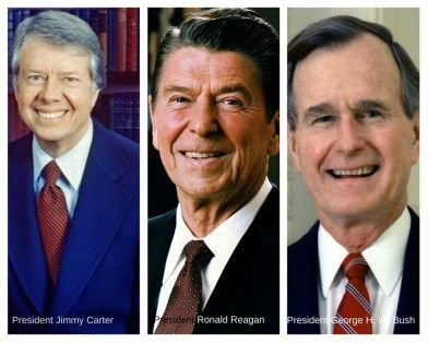 Presidents Jimmy Carter, Ronald Reagan and George H.W. Bush