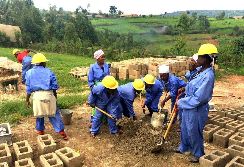 Women for Women International programme graduates at their brick-making cooperative on the outskirts of Kigali, Rwanda