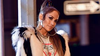 NEW YORK, NY - AUGUST 31:  Jennifer Lopez seen on location for a music video in Manhattan on August 31, 2017 in New York City.  (Photo by James Devaney/GC Images)