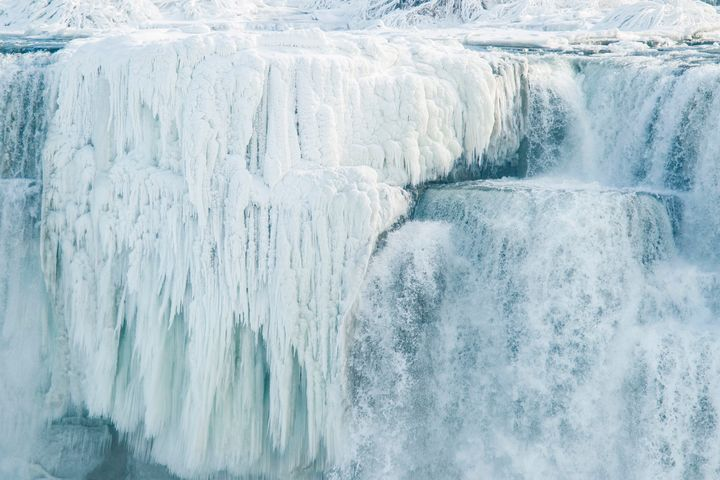 Ice hangs from the top of the American side of Niagara Falls on January 3.