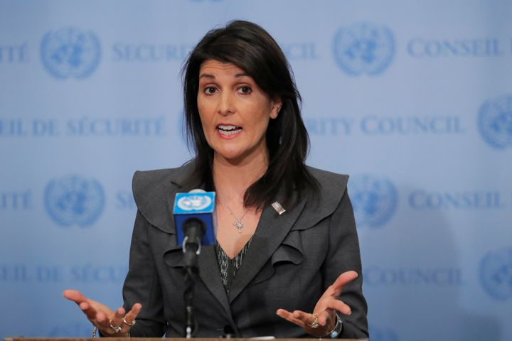 U.S. Ambassador to the United Nations Nikki Haley speaks at the U.N. headquarters in New York, Jan. 2, 2018.