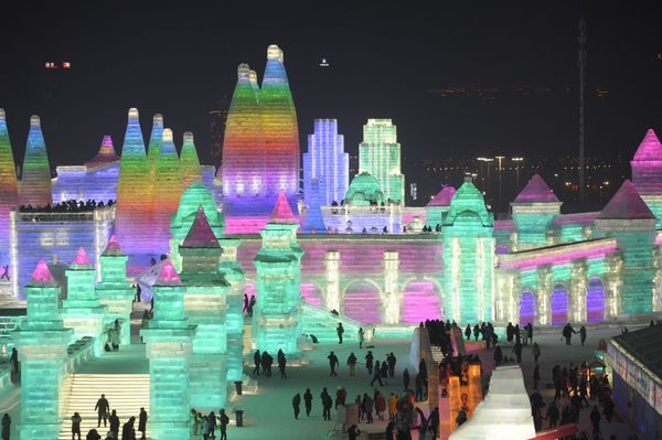 An illuminated ice castle.