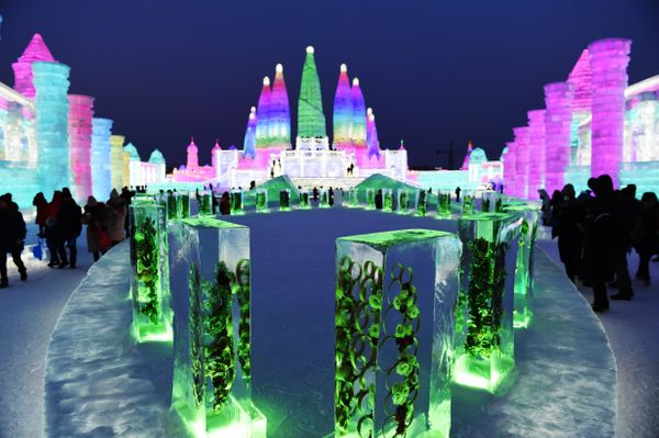 Tourists visit the Ice and Snow World park in Harbin.