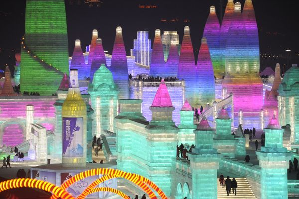 An illuminated ice castle is seen during the Harbin International Ice and Snow Sculpture Festival.