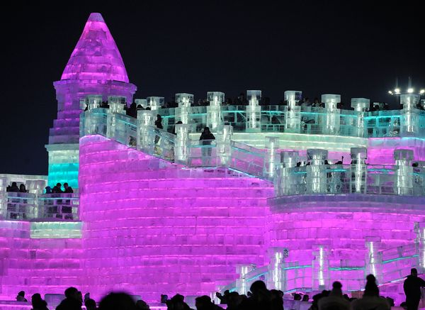 Tourists walk among the illuminated ice sculptures.