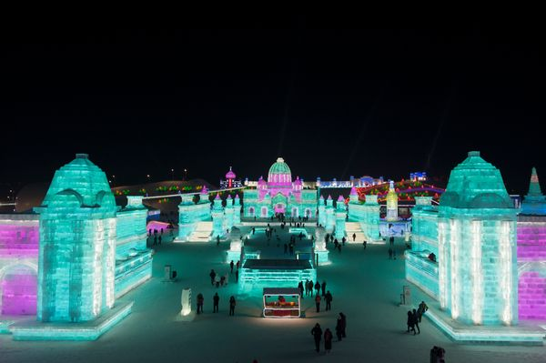 Tourists visit the Ice and Snow World park.
